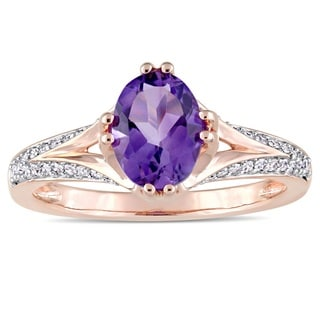 Miadora Signature Collection 14k Rose Gold Oval-Cut African-Amethyst and 1/5ct TDW Diamond Split Shank Engagement Ring