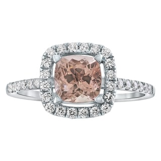 14k White Gold Morganite and 1/3ct Diamonds Engagement Ring - Pink