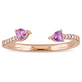 Miadora Signature Collection 14k Rose Gold Heart-Cut Pink Sapphire and Diamond Accent 2-Stone Bypass Ring