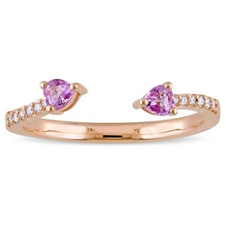 Miadora Signature Collection 14k Rose Gold Heart-Cut Pink Sapphire and Diamond Accent 2-Stone Bypass