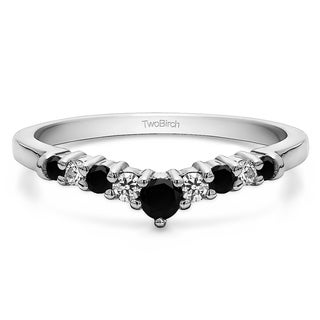 14k Gold Chevron Inspired Curved Band Mounted With Black And White Cubic Zirconia 0 33 Cts Twt