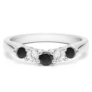 10k Gold Perfectly Contoured Wedding Ring mounted with Black and White Cubic Zirconia (1 Cts. twt)