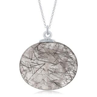 La Preciosa Sterling Silver Round Black Rutilated/Amethyst/Strawberry Quartz Pendant w/ Chain Necklace