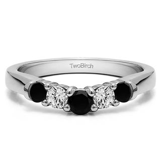 14k Gold Perfectly Contoured Wedding Ring mounted with Black And White Diamonds (G-H,I1-I2) (0.75 Cts. twt)
