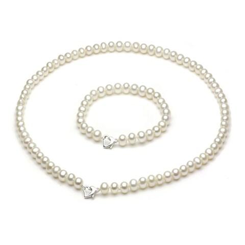DaVonna Sterling Silver 5-6mm Freshwater Cultured Pearl Necklace Bracelet Set