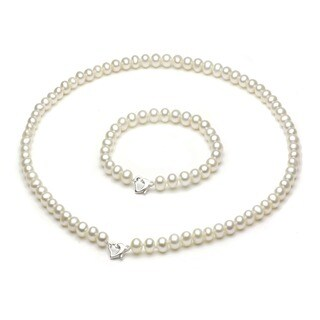 DaVonna Sterling Silver 5-6mm Freshwater Cultured Pearl Necklace Bracelet Set