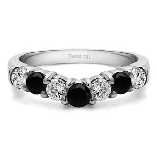 10k Gold Contour Style Anniversary Wedding Ring Mounted With Black And White Cubic Zirconia 0 25 Cts Twt