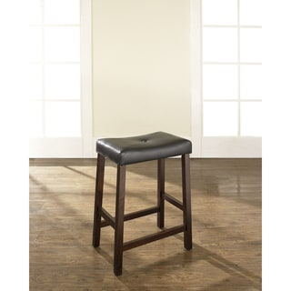 Shop Black 24 Inch Upholstered Saddle Seat Bar Stools Set