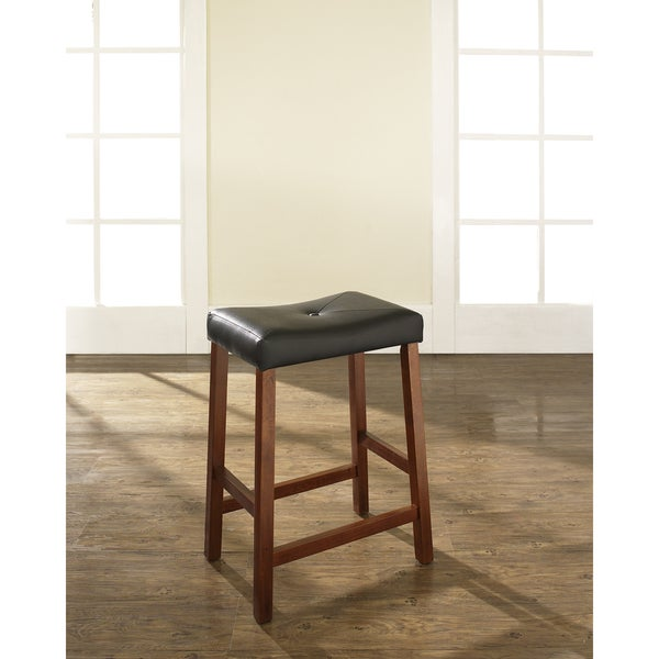 Shop Classic Cherry 24 Inch Upholstered Saddle Seat Bar Stools Set