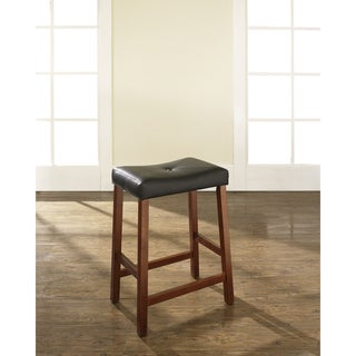 Crosley Furniture Classic Cherry 24-inch Upholstered Saddle Seat Bar Stools (Set of 2)