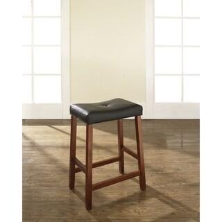 Crosley Furniture Classic Cherry 24-inch Upholstered Saddle Seat Bar Stools (Set of 2)