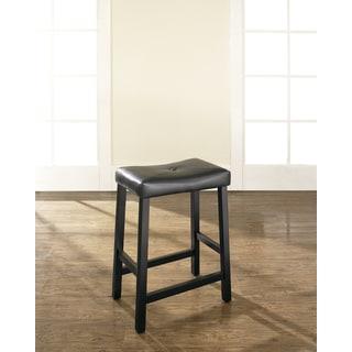 Black 24-inch Upholstered Saddle Seat Bar Stools (Set of 2)