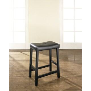 Brand: Crosley Furniture · Black 24 Inch Upholstered Saddle Seat Bar Stools  (Set Of 2)