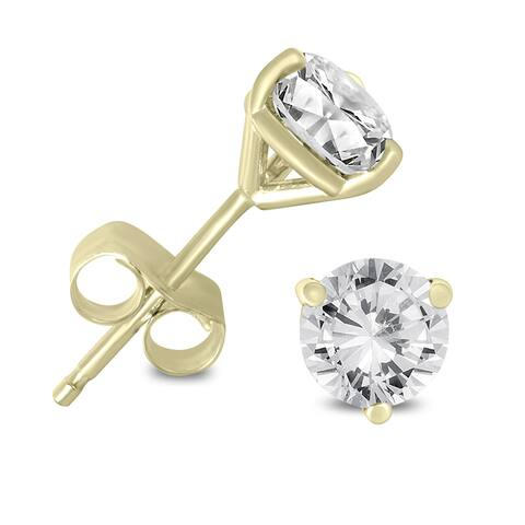Marquee Jewels 14K Yellow Gold 1/4ct TDW AGS Certified Martini Set Round Diamond Solitaire Earrings (K-L, I2-I3)
