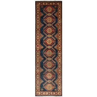 ecarpetgallery Finest Gazni Blue  Wool Rug (2'8 x 10'1)