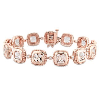 Miadora Signature Collection 10k Rose Gold Morganite and 1/5ct TDW Diamond Geometric Linked Bracelet