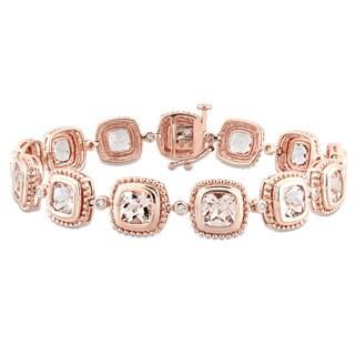 Miadora Signature Collection 10k Rose Gold Morganite and 1/5ct TDW Diamond Geometric Linked Bracelet