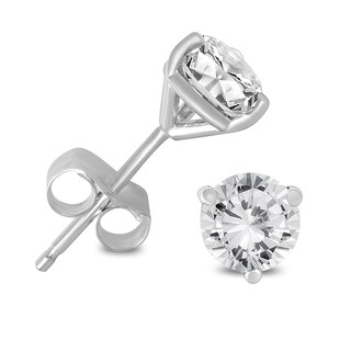 Marquee Jewels 14K White Gold 1/2ct TDW AGS Certified Martini Set Round Diamond Solitaire Earrings (K-L, I2-I3)