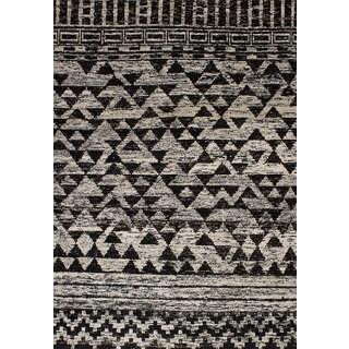 ecarpetgallery Sari Silk Black, Ivory  Sari Silk Rug (5'4 x 7'6)