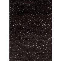 ecarpetgallery Arlequin Black Wool, Art Silk Rug - 4'0 x 6'0