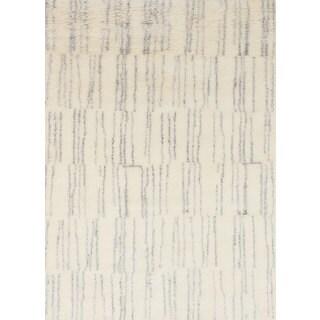 ecarpetgallery Arlequin Ivory Wool, Art Silk Rug (4'0 x 5'10)
