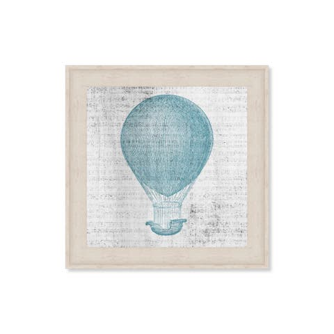 Oliver Gal 'Oliver by Oliver Gal 'Hot Air Balloon Blues' Framed Art