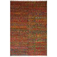ecarpetgallery Sari Silk Red  Sari Silk Rug (6'3 x 9'3)