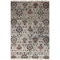 ecarpetgallery Sari Silk Ivory Sari Silk Rug - 6'3 x 9'6
