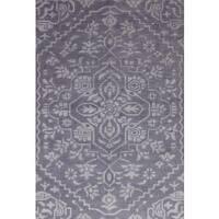 ecarpetgallery La Seda Grey Wool, Art Silk Rug