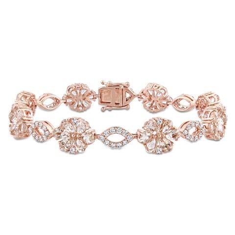 Miadora Signature Collection 14k Rose Gold Morganite White Sapphire & 1 1/4ct TDW Diamond Floral & Oval Linked Bracelet