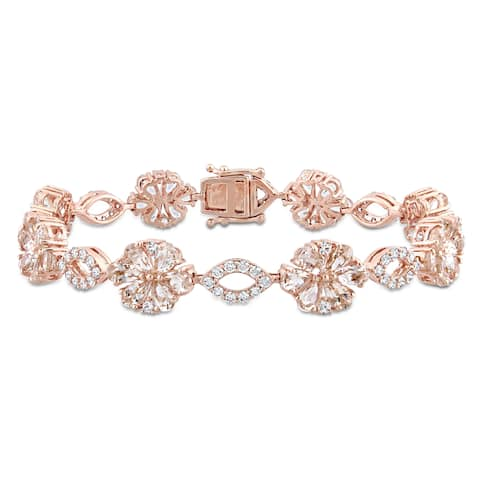 Miadora Signature Collection 14k Rose Gold Morganite White Sapphire & 1 1/4ct TDW Diamond Floral & Oval Linked Bracelet - Pink