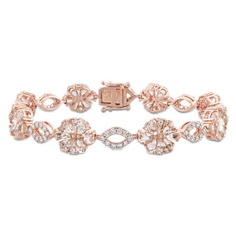 Miadora Signature Collection 14k Rose Gold Morganite White Sapphire & 1 1/4ct TDW Diamond Floral & Oval Linked Bracelet