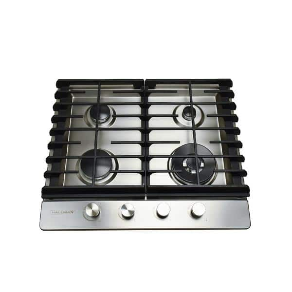 24 In Gas Cooktop In Stainless Steel With 4 Burners Including A Tri Ring Power Burner Overstock 15999540