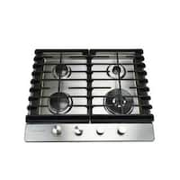24 in. Gas Cooktop in Stainless Steel with 4 Burners including a Tri-Ring Power Burner