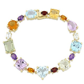 Miadora Signature Collection 10k Yellow Gold Multi-Cut Gemstone Bracelet