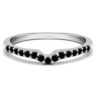 10k Gold Delicate Notched Contour Band Mounted With Black Cubic Zirconia 0 15 Cts Twt