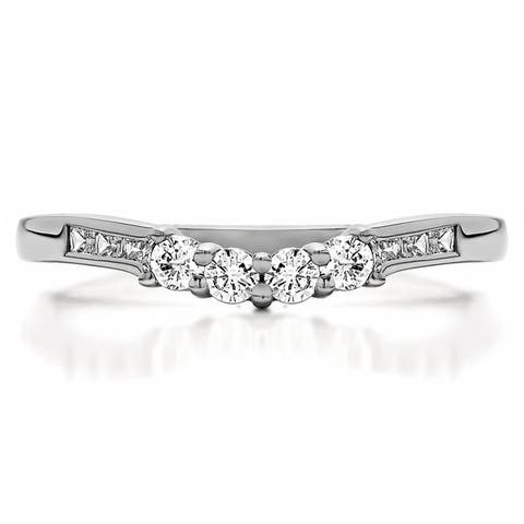 Sterling Silver Fancy Style Matching Wedding Band mounted with Black and White Cubic Zirconia (0.42 Cts. twt)