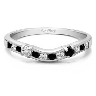 14k Gold Embellished Classic Contour Band Mounted With Black And White Diamonds G H I2 I3 0 33 Cts Twt
