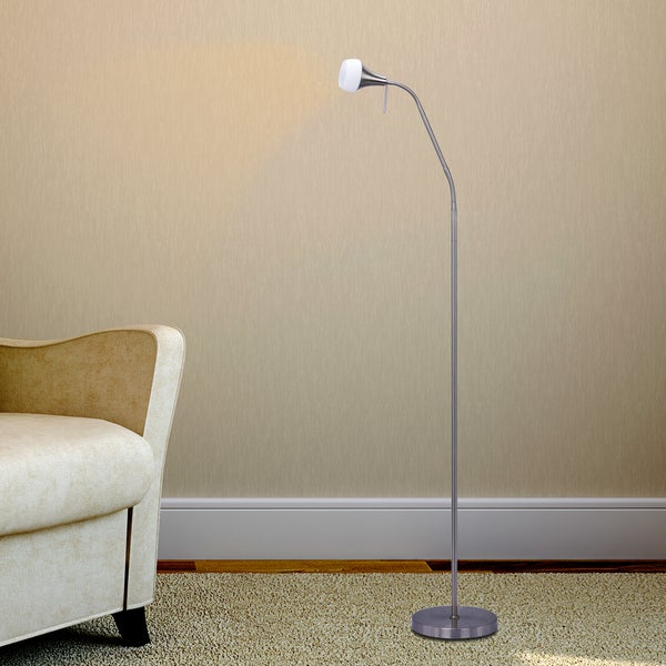 #1556BS 56-64 in. Metal Floor Lamp in a Brushed Steel Finish