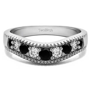 14k Gold Vintage Style Contour Wedding Ring Mounted With Black And White Cubic Zirconia 0 33 Cts Twt