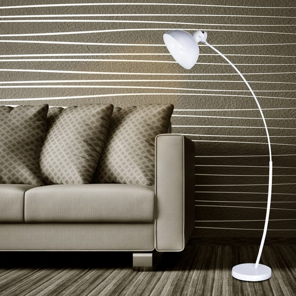 #1547WHT 62 in. Modern Metal Arched Floor Lamp in. Matte White
