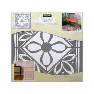 Decoart Americana Decor Stencil 18x18 Lotus Tile