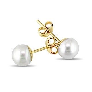 Miadora 14k Yellow Gold Cultured Freshwater Pearl Classic Stud Earrings - White