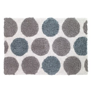 Avanti Dotted Circles White/Blue/Grey Cotton 20 x 30-inch Bath Rug