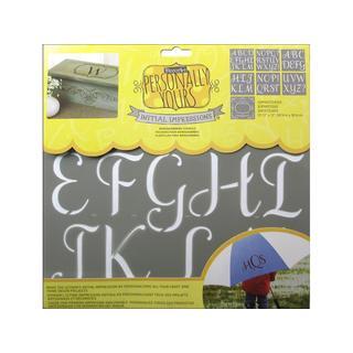 Decoart Stencil Initial Impres 12x12 Sophisticated