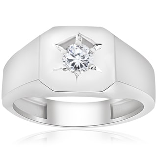 10k White Gold 1/6 ct TDW Diamond Mens Solitaire Engagement Wedding Ring (I-J,I2-I3)