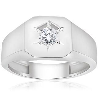 10k White Gold 1/6 ct TDW Diamond Mens Solitaire Engagement Wedding Ring (I-J,I2-I3)