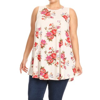 Women's Plus Size Pink Floral Sleeveless Top