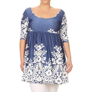 Women's Plus Size Blue Lace Pattern Short-sleeve Dress