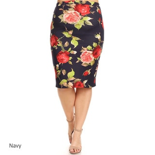 Women's Plus Size Floral Roses Pattern Pencil Skirt (Option: Pink)